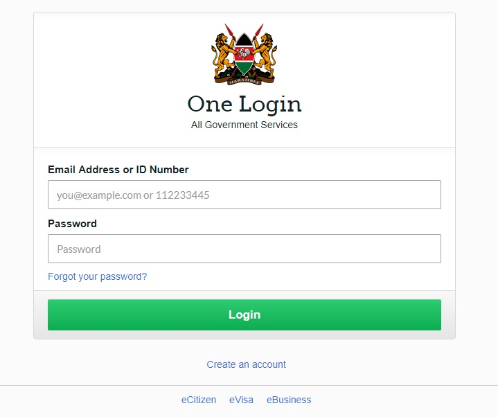 Log in to eCitizen